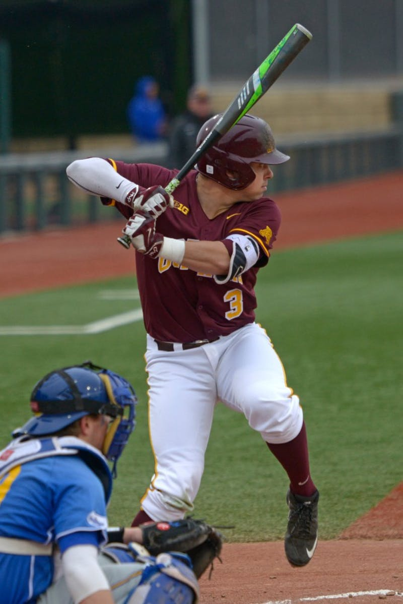 Junior Matt Fiedler prepares to bat during the Gophers' game against South Dakota State at Siebert Field on Tuesday afternoon.