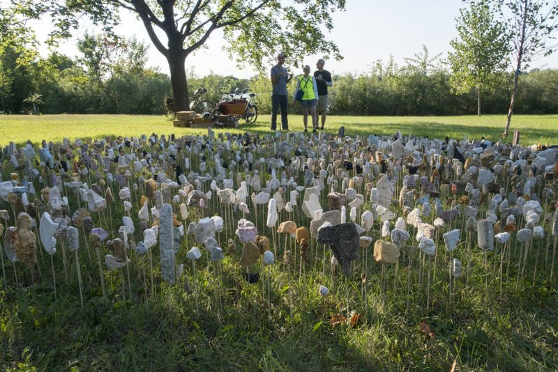 University of Minnesota Art Professor Sean Connaughty removes trash from Lake Hiawatha and repurposes it to create works of art. A work made of reclaimed styrofoam by Presley Martin is seen on Saturday, Sept. 8, 2018 in Minneapolis.