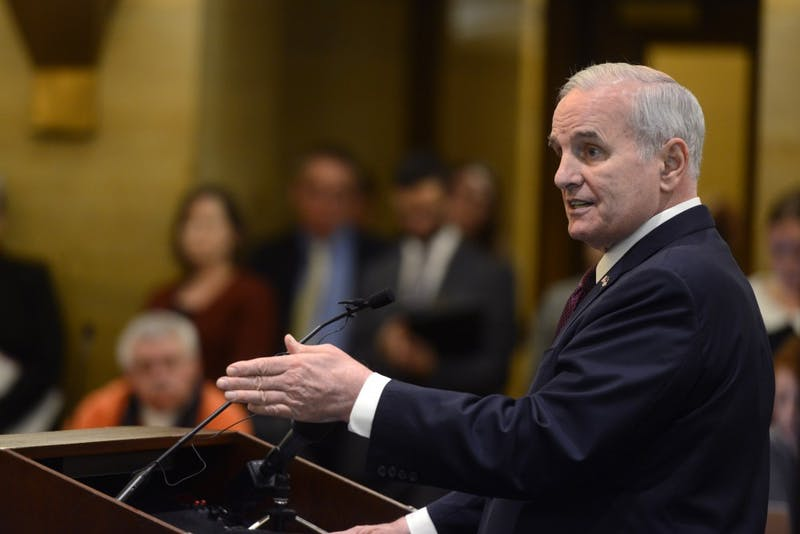 Gov. Mark Dayton answers questions during a press conference about Minnesota's budget at the Capitol in St. Paul on Tuesday, Feb. 28, 2017.