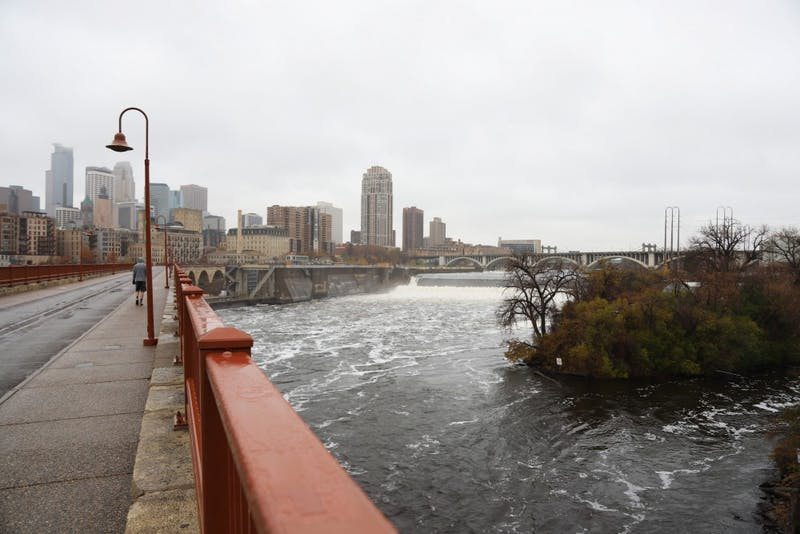 The view where a Crown Hydro hydroelectric turbine would have been placed as seen on Sunday, Nov. 4 in Minneapolis. Xcel Energy terminated their contract with Crown Hydro, causing the planned turbine to be cancelled.
