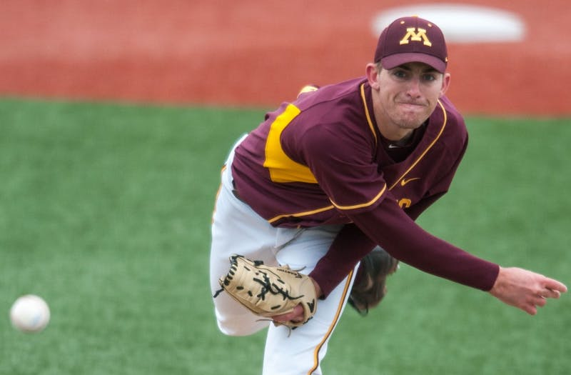 Gophers pitcher Ben Meyer pitches during a game against Nebraska at Siebert Field on April 13th.