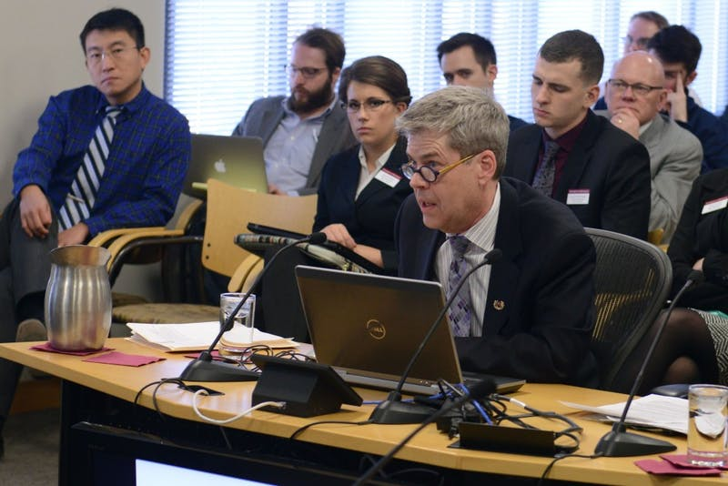 Boynton Health Chief Medical Officer Gary Christenson gives an update on student mental health to the Board of Regents Academic and Student Affairs Committee at the McNamara Alumni Center on Feb. 10, 2017.