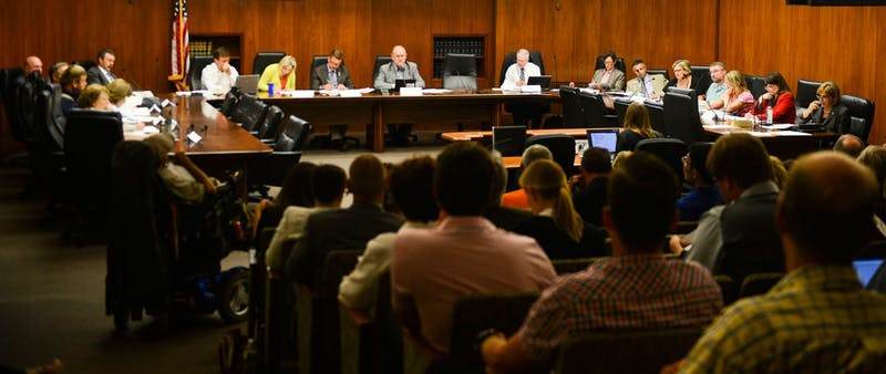 The task force assessing the impact of the medical marijuana law at their first meeting at the State Office Building on Thursday.