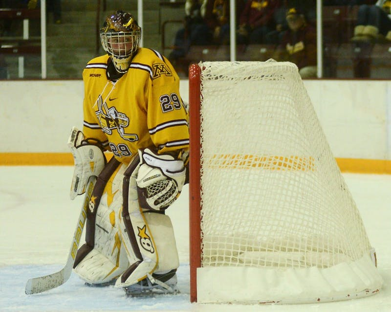 Gophers goaltender Amanda Leveille stands in the crease on Friday, Nov. 1, 2013.