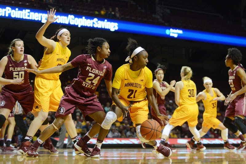 Gophers guard Jasmine Brunson looks for a passing outlet against Florida State on Wednesday, Nov. 30, 2016 at Williams Arena.
