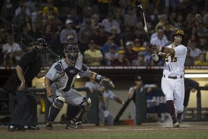 Luke Petterson reacts as he watches to see if his hit is a foul ball during the game against Canisius on Friday, June 1, 2018 at Siebert Field. The Gophers won 10-1.