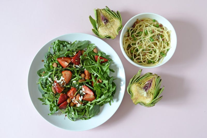 Strawberry-Arugula-Spinach Salad, Spaghetti with Peas, Parmesan and Artichokes.