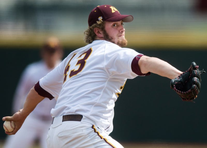 Lucas Gilbreath pitches at Siebert Field on April 17 during the Gophers' weekend series against Maryland.