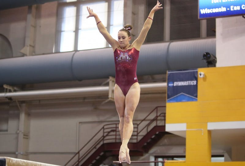 Freshman Lexy Ramler competes on the balance beam at the regional NCAA gymnastics championship on Saturday, April 7.