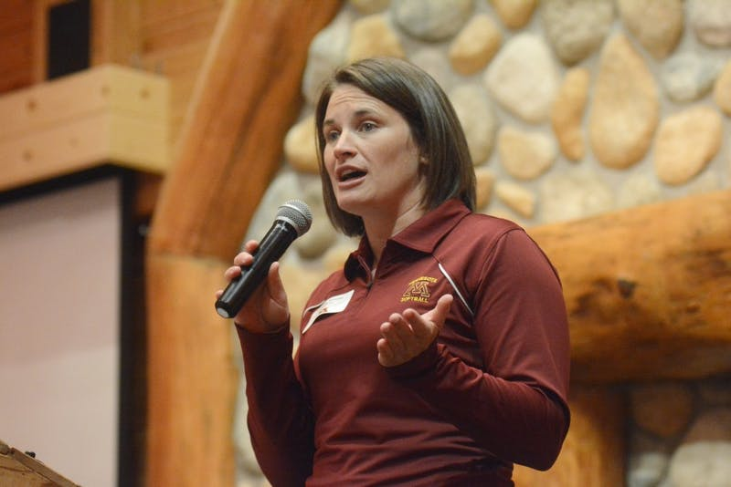 Jessica Allister speaks at the Grands at Mulligans in Sartell, MN on Wednesday, Jun. 7. Gophers Athletics staff traveled across state of Minnesota and visited 15 locations.