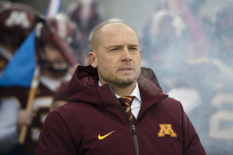 Head Coach P.J. Fleck prepares to run onto the field before the Gopher's last home game on Saturday, Nov. 17 at TCF Bank Stadium.