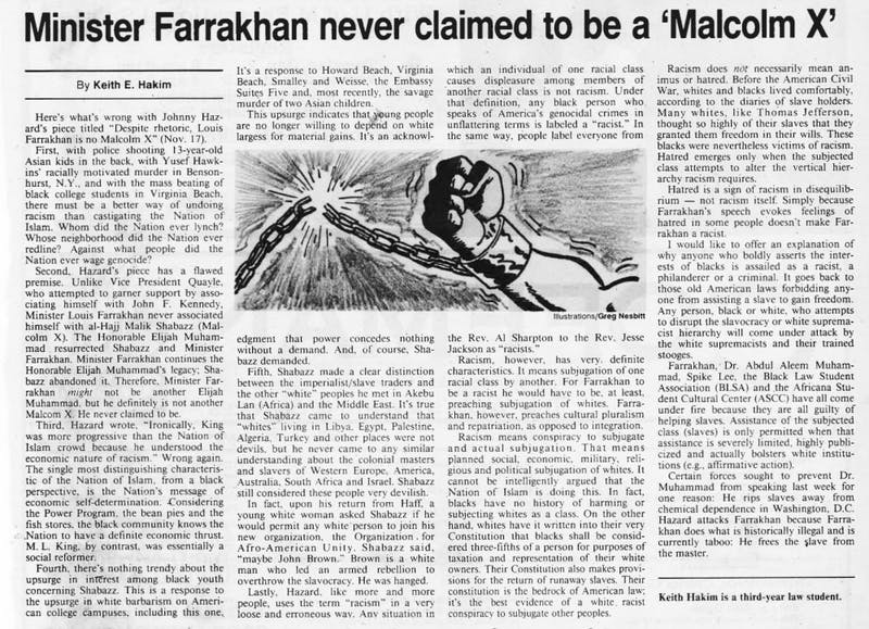 "One of Keith Ellison's columns, ""Minister Farrakhan never claimed to be a 'Malcolm X,'"" published on Nov. 27, 1989."