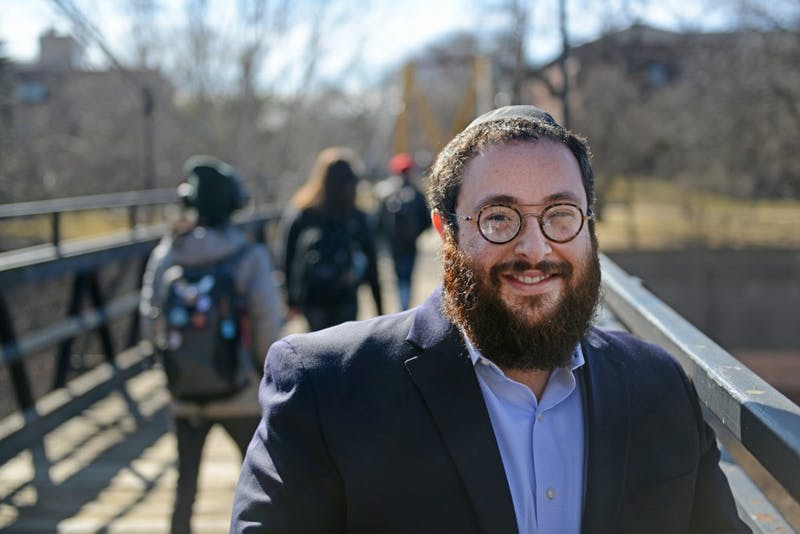 "Rabbi Yitzi Steiner poses for a portrait on campus on Friday, March 21, 2017. ""Be proud of who you are and respect who you are. That's how you take care of Jewish students,"" Steiner said."