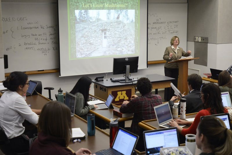 Professor June Carbone teaches a property law course in Mondale Hall on Wednesday, April 26, 2017.
