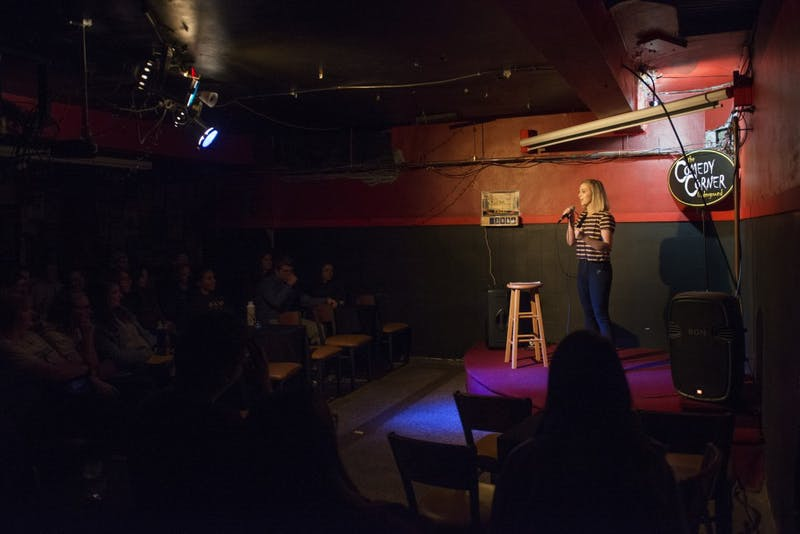 Vice President of the Comedy Club Caroline Skoog performs a standup bit at the Comedy Corner Underground on Thursday, Oct. 4.