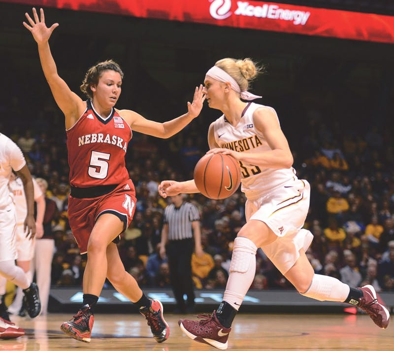 Sophomore guard Carlie Wagner handles the ball during the game against Nebraska at Williams Arena on Thursday, where the Gophers beat Nebraska 110-73.