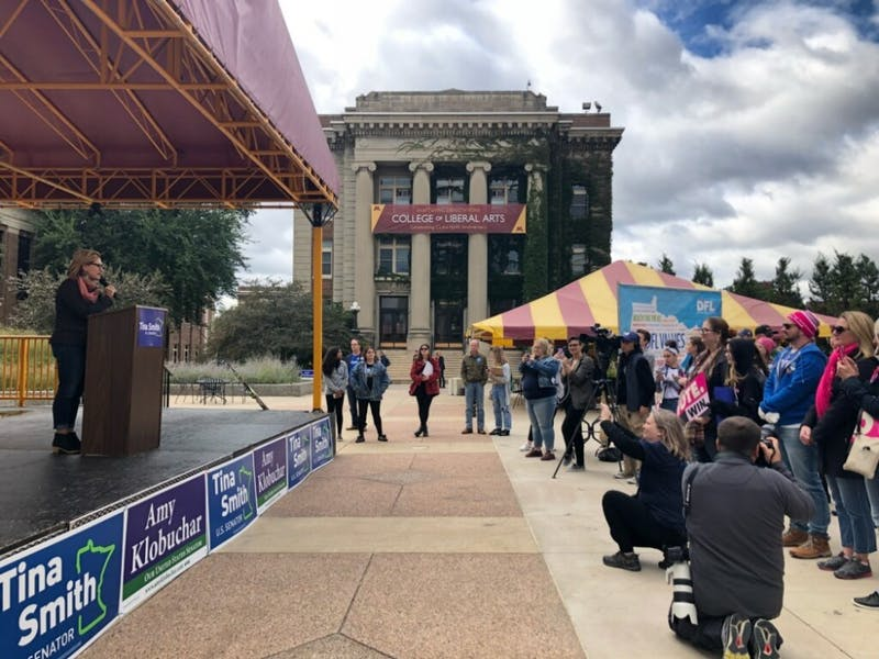 A speaker addresses a crowd of about 100 at the early voting rally on Sept. 21.