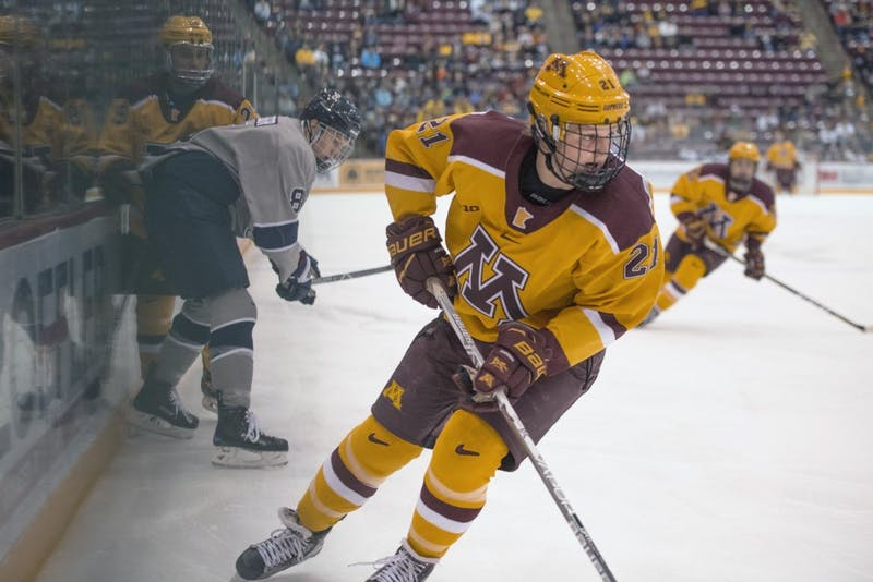 Forward Casey Mittelstadt follows the puck during the Gophers' game against Penn State on Oct. 29, 2017 at 3M Arena at Mariucci.