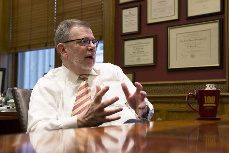 University of Minnesota President Eric Kaler fields questions from the Minnesota Daily in his office on Monday, March 1.