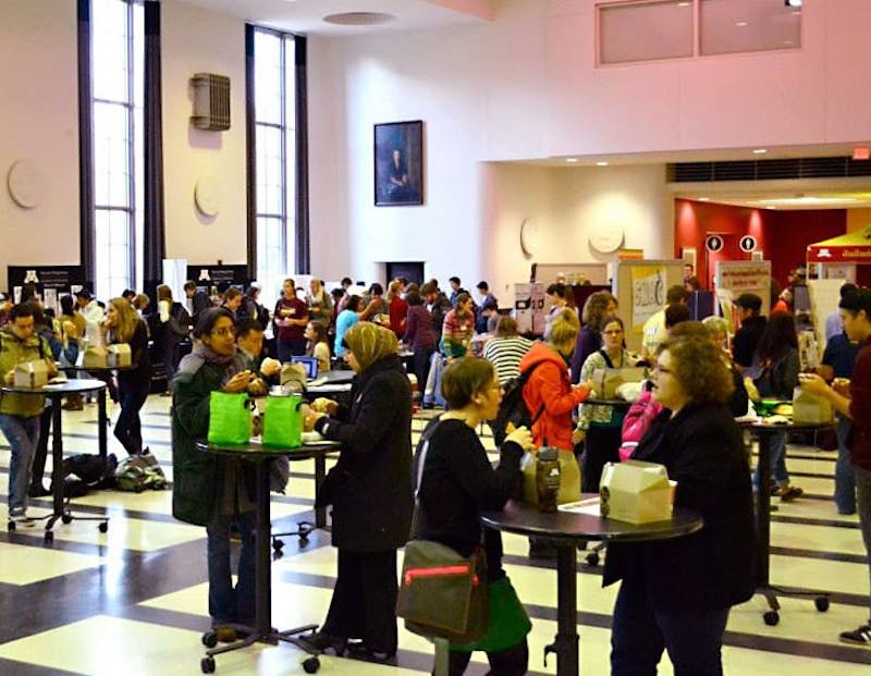 Attendees fill the Great Hall of Coffman Memorial Union during Food Day UMN in 2013.