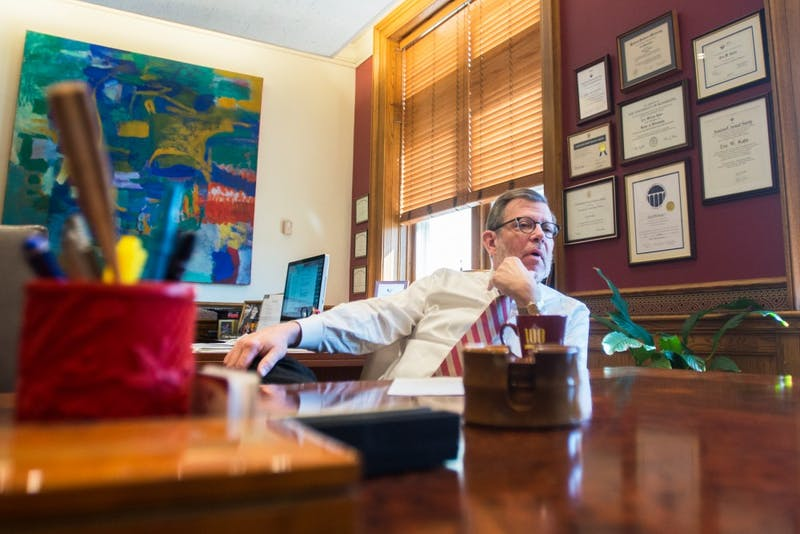 University President Eric Kaler sits in his office on Friday, March 11.