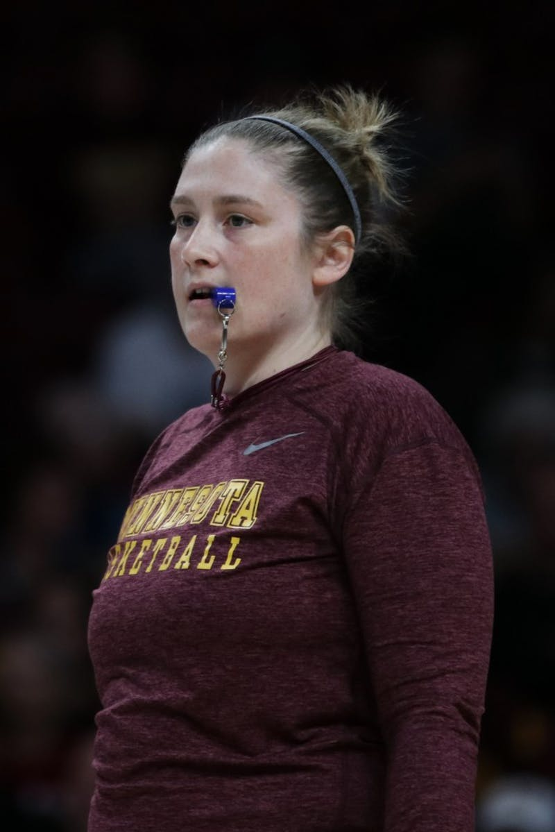 Head coach Lindsay Whalen watches the play during Gopher women's basketball's annual exhibition versus the men's scout team on Saturday, Oct. 20 at Williams Arena.