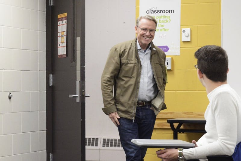 Rep. Raymond Dehn walks in to speak to students on April 13, 2017 in Kolthoff Hall. Dehn is running for mayor of Minneapolis.