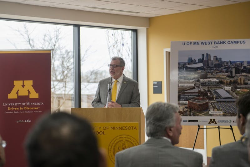 University President Eric Kaler speaks about sustainability at Mondale Hall on the West Bank campus on Wednesday, April 24 during the announcement that the University has installed nine solar gardens around campus.