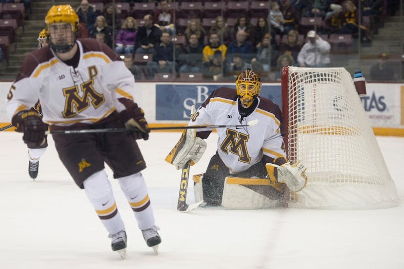 Sophomore goaltender Mat Robson reads the play during a game against No. 1 Notre Dame at 3M Arena at Mariucci on Jan. 26.