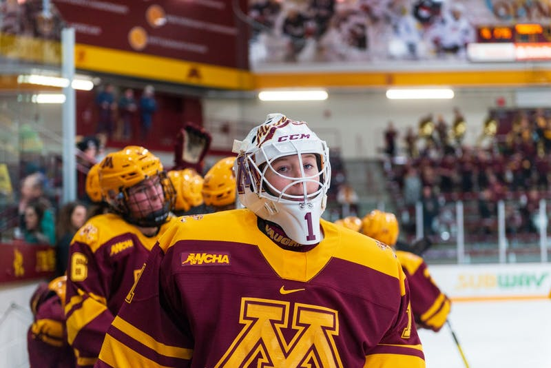 Gophers Goaltender Olivia King walks along the bench at Ridder Arena on Friday, Jan. 17.  Minnesota suffered a 1-4 loss to Ohio State. (Kamaan Richards / Minnesota Daily)