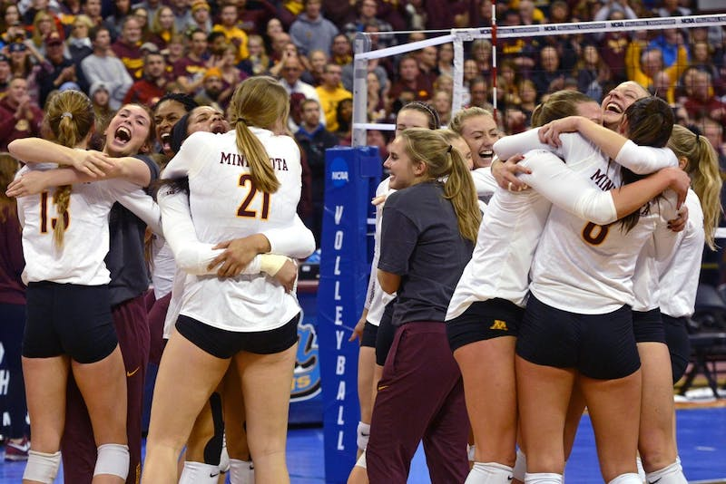 The Gophers volleyball team celebrates its sweep of UCLA in the Sports Pavilion on Saturday, Dec. 10, 2016. The Gophers move on to the NCAA tournament's Final Four to face Stanford in Columbus, Ohio on Dec. 15.