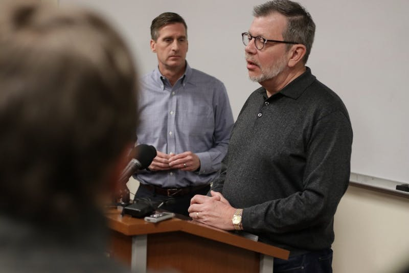 President Eric Kaler and Athletics Director Mark Coyle address media following the Gopher football team's announcement to end their boycott on Saturday, Dec. 17, 2016.