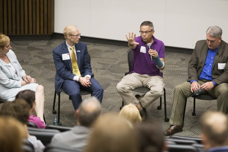 Nurse Anesthetist Ted Spiess, who is in recovery from opioid addiction, speaks at the school of nursing's event, Nurse Anesthetists Respond: Addressing the Opioid Epidemic on Saturday, June 9, 2018 at Moos Tower.