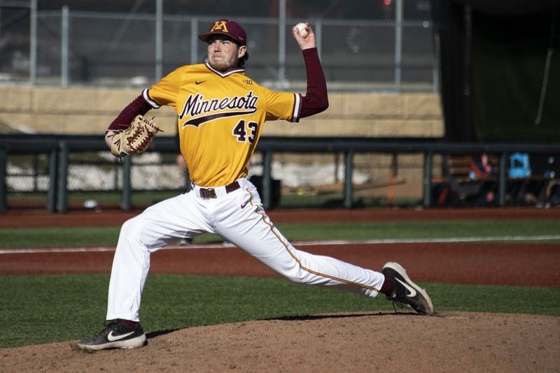 Ryan Duffy pitches the ball to Illinois on Sunday, April 14 at Siebert Field. Gophers lost 3-13 to Illinois.
