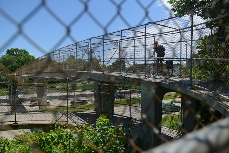 The 10th Ave SE walking bridge is seen on Wednesday, June 21, 2017. The bridge, used to cross 35W by cyclists and pedestrians, will undergo renovations in Spring 2018.