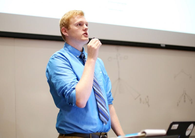 Minnesota Student Association Speaker of the Forum William Dammann speaks at MSA's first meeting of the school year on Tuesday evening in the Molecular and Cellular Biology building.