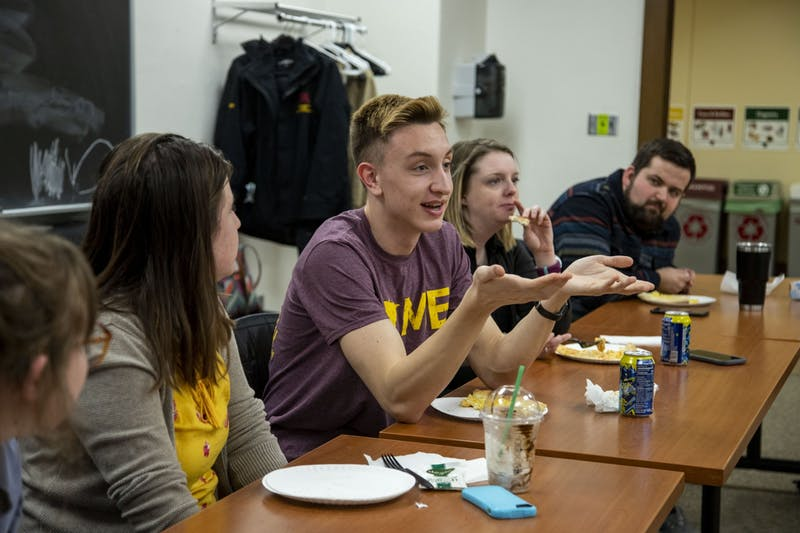 Freshman Nicholas Potthoff, an agricultural communication and marketing major, offers insights to other rural students in Coffey Hall on Tuesday, Feb. 25.