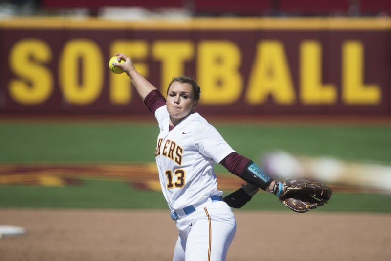 Amber Fiser throws a pitch at Jane Sage Cowles Stadium on Sunday, April 14. The Gophers beat Michigan State two games to none as part of their double header.