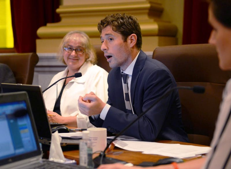 Minneapolis Mayor-elect Jacob Frey speaks at a meeting at City Hall on Friday, July 10, 2014.