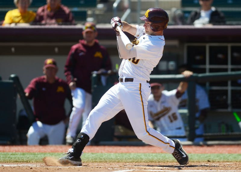Sophomore first baseman Toby Hanson bats during the Gophers baseball game against Kansas at Siebert Field on Wednesday.