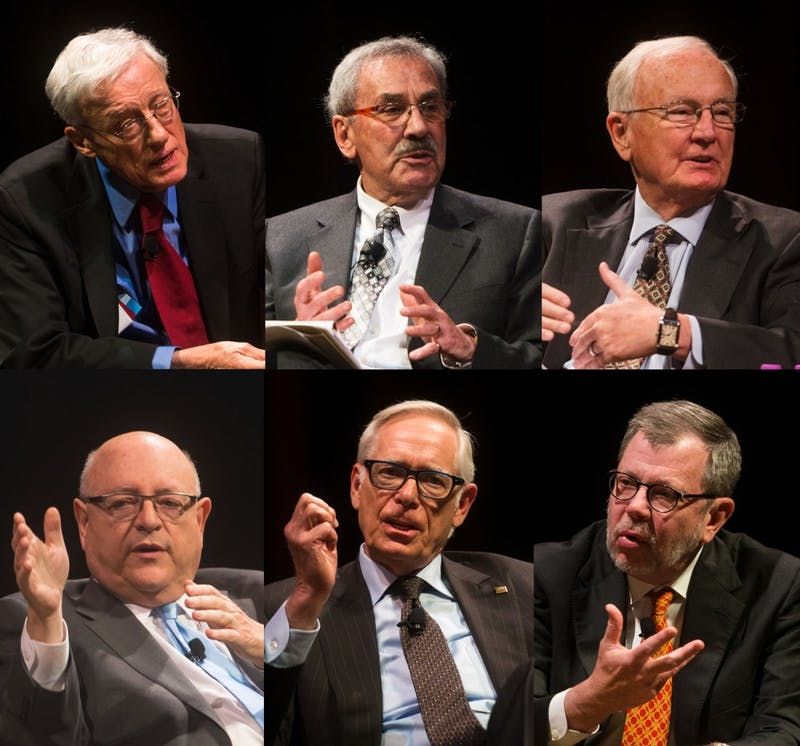 "Former University presidents (from left) Peter Magrath, Kenneth Keller, Nils Hasselmo, (below) Mark Yudof, Robert Bruininks and current University president Eric Kaler speak at the Northrop during ""Six Presidents. Four Decades of Leadership. One University"" on Monday."