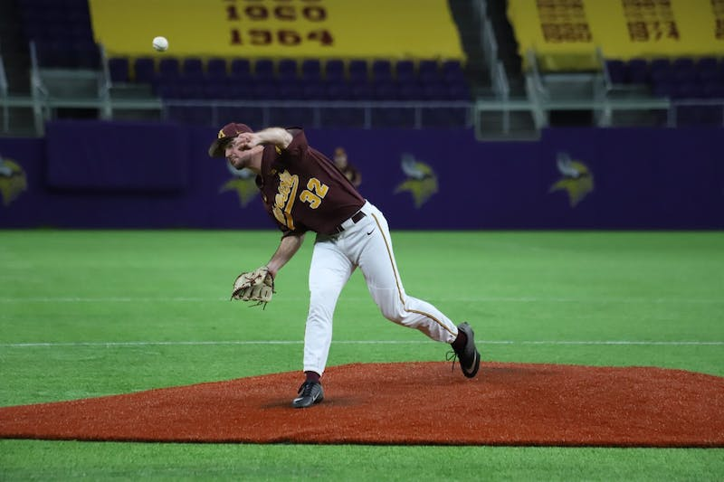 Gophers Pitcher Bubba Horton throws a pitch at U.S Bank Stadium on Saturday, Feb. 29. The Gophers fell to Duke 3-7.