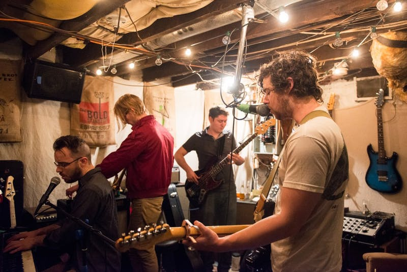 Local band Poolboy runs through songs in their practice space on Tuesday night, ahead of their EP release show at the 7th Street Entry on Feb. 28.
