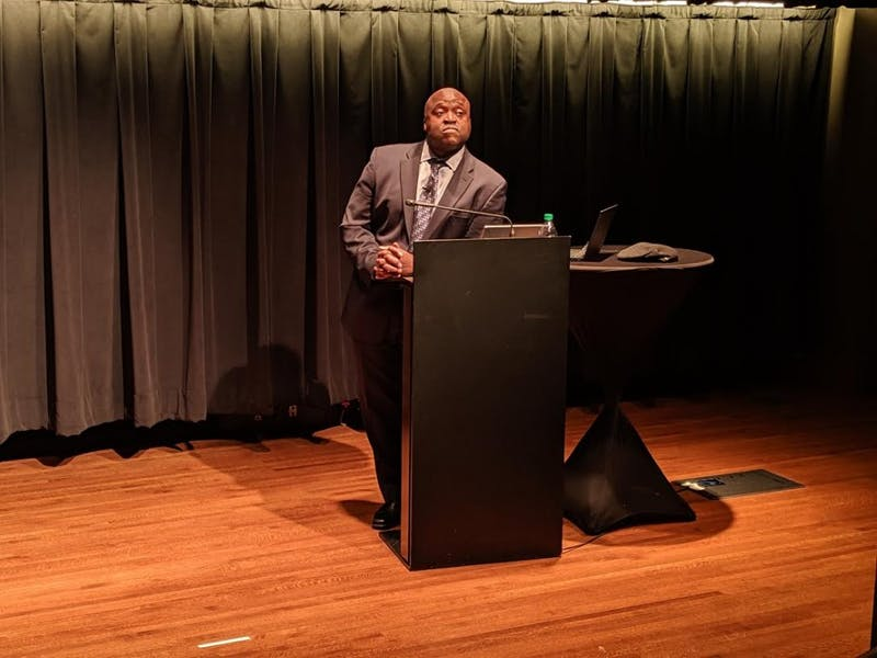 Gregory Washington, the second provost candidate, spoke at a public forum Wednesday night.
