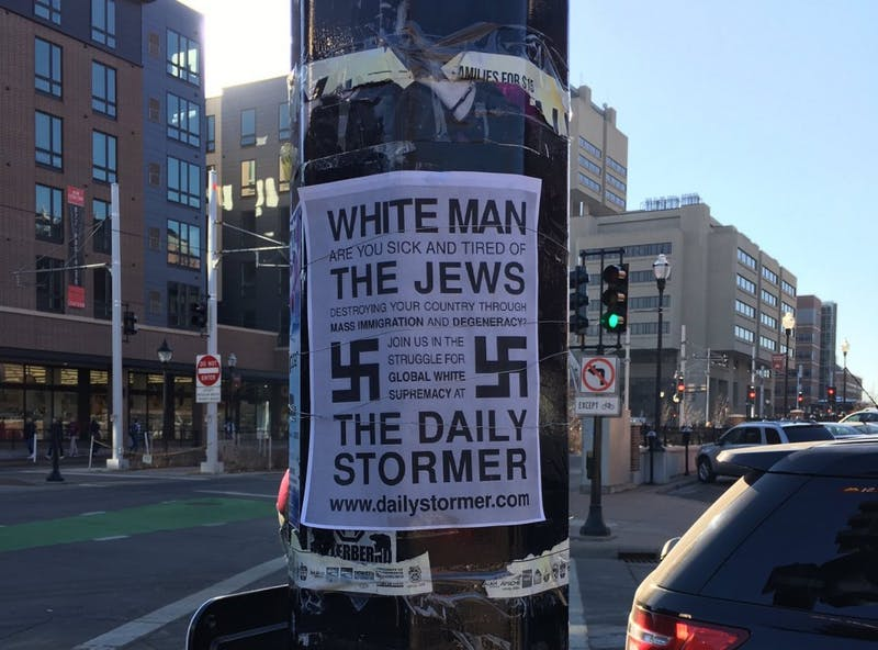An anti-Semitic poster spotted by McNamara Alumni Center at the University of Minnesota.