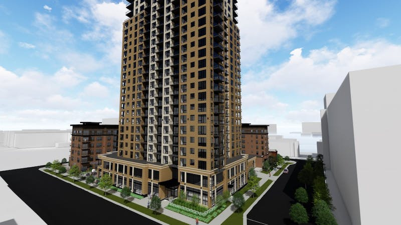 Doran Companies and CSM Corporation will present plans for a 25-story apartment tower in Marcy Holmes at a Heritage Preservation Commission meeting in October.