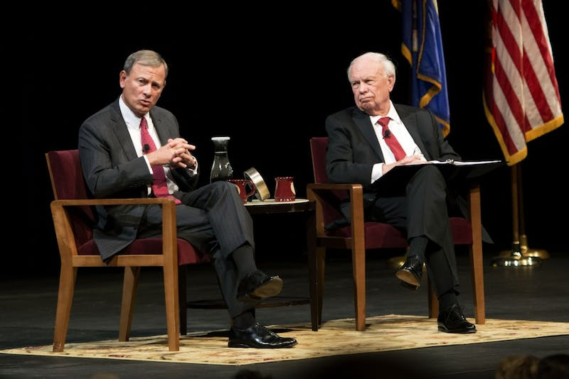 Robert Stein, a University of Minnesota Law School professor speaks with Chief Justice of the United States, John Roberts on Tuesday, Oct. 16 at Northrop Auditorium on East bank.