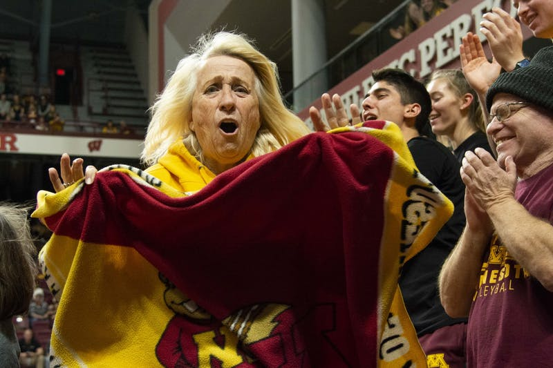 Gopher fans cheer during the game against the Fairfield Stags in the first round of the NCAA tournament at the Maturi Pavilion on Friday, Dec. 6.