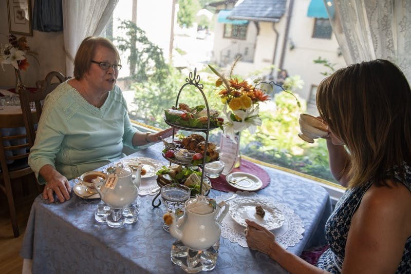 Barbara and Peggy Haselman enjoy tea and pastries on Wednesday, July 24 at Lady Elegant's Tea Room & Gift Shoppe in St. Paul.