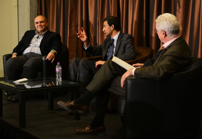 Economics professor Raj Chetty participates in a discussion at McNamara Alumni Center on Thursday. The audience asked questions related to the current economic climate and social mobility.